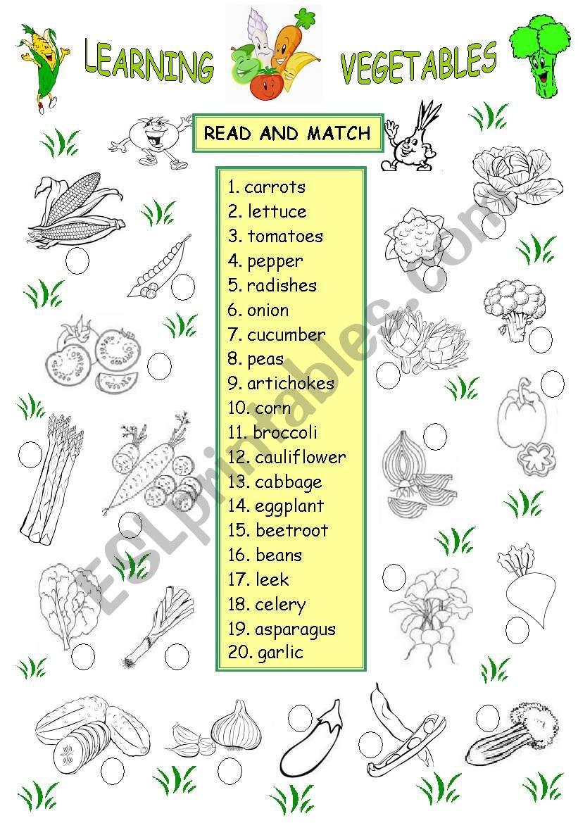 LEARNING VEGETABLES worksheet
