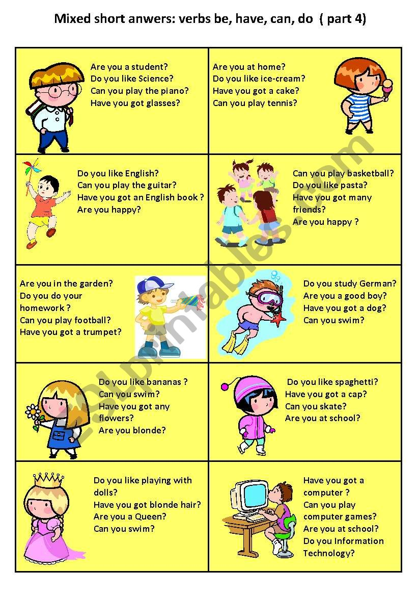 short answer speaking cards 4 worksheet