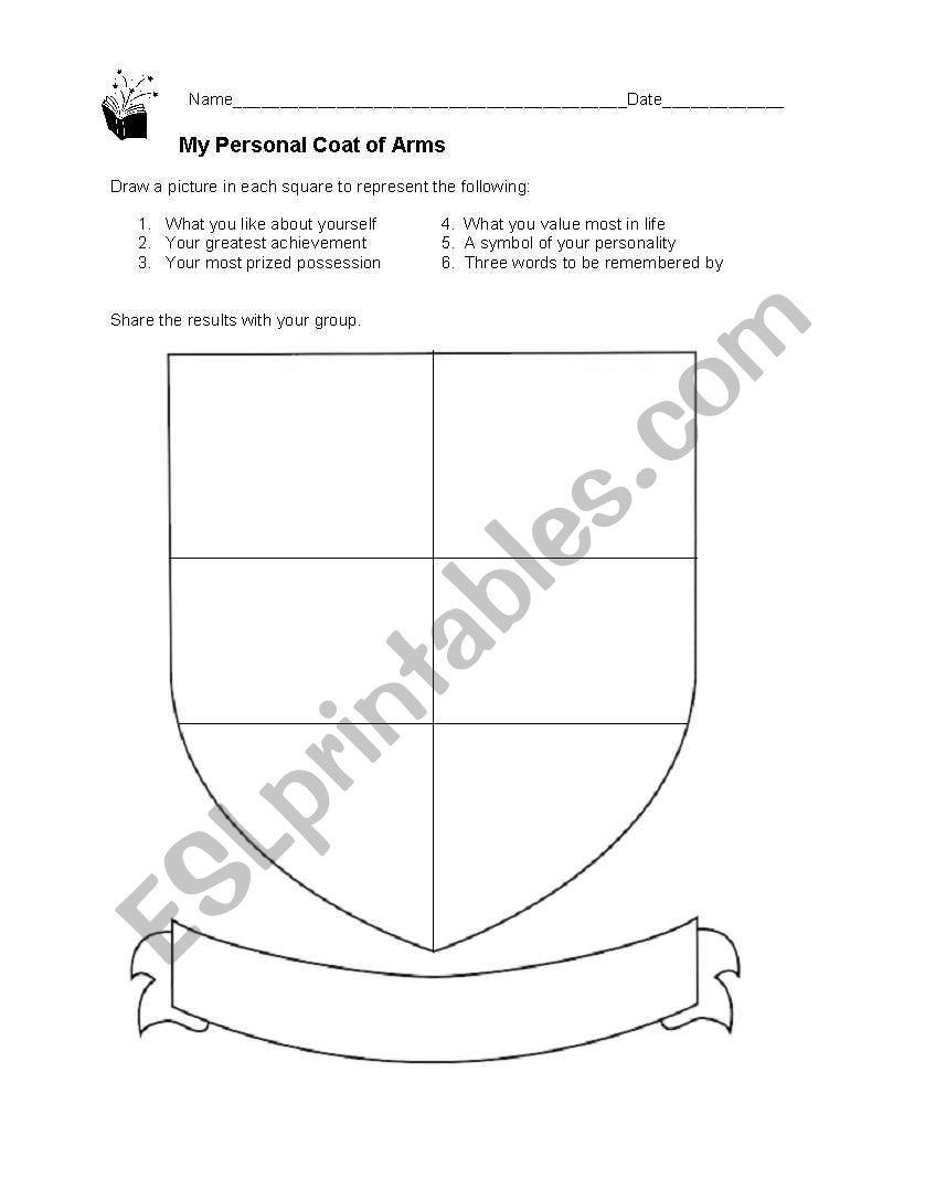 worksheet Coat Of Arms Worksheet english worksheets my personal coat of arms worksheet
