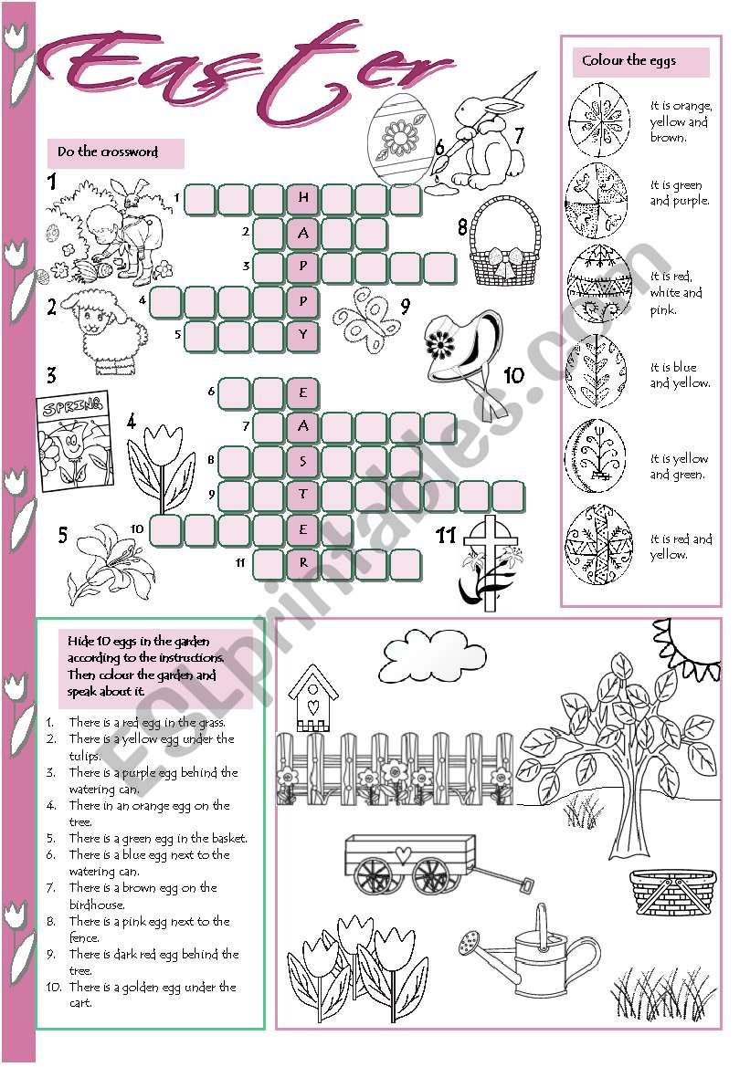 photograph about Easter Crossword Puzzles Printable identify Easter crossword - ESL worksheet via Tecus