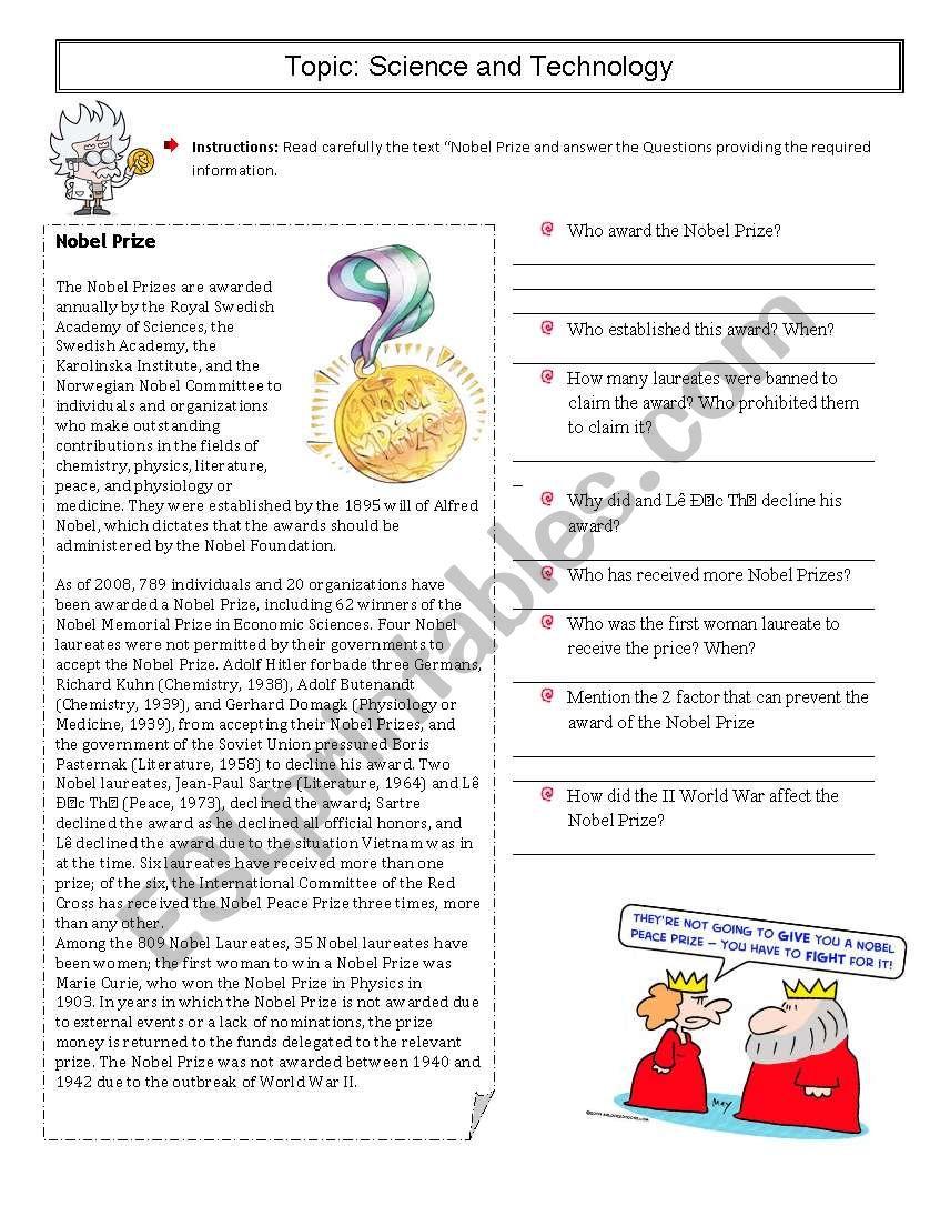 The Nobel Prize  worksheet