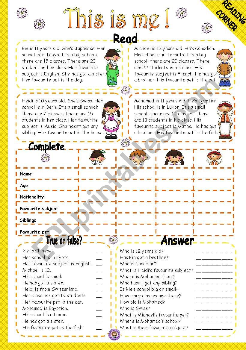 THIS IS ME! - READING worksheet