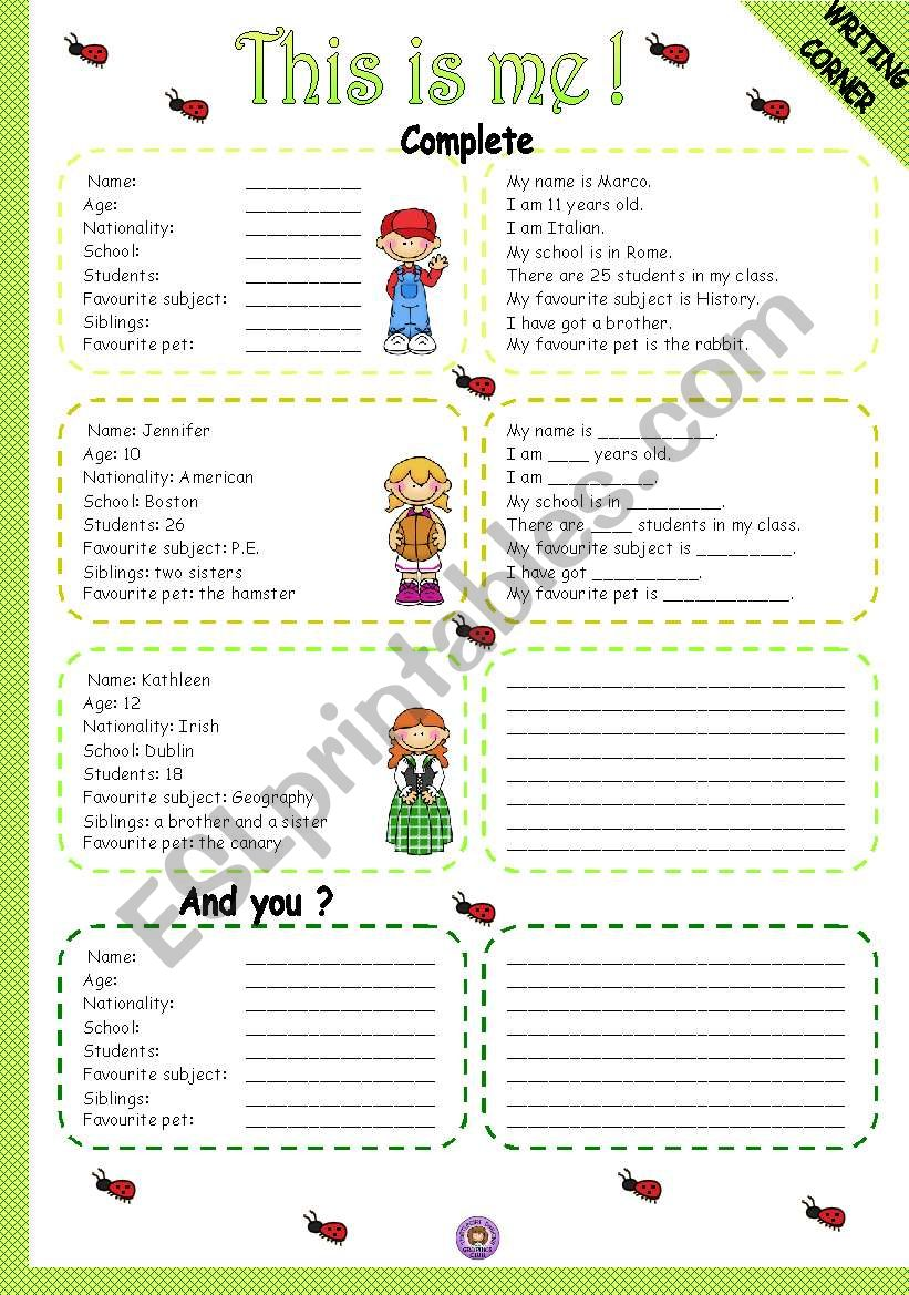 THIS IS ME! - WRITING worksheet