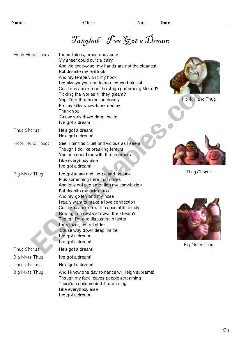 Tangled I Ve Got A Dream Esl Worksheet By Kk Hh
