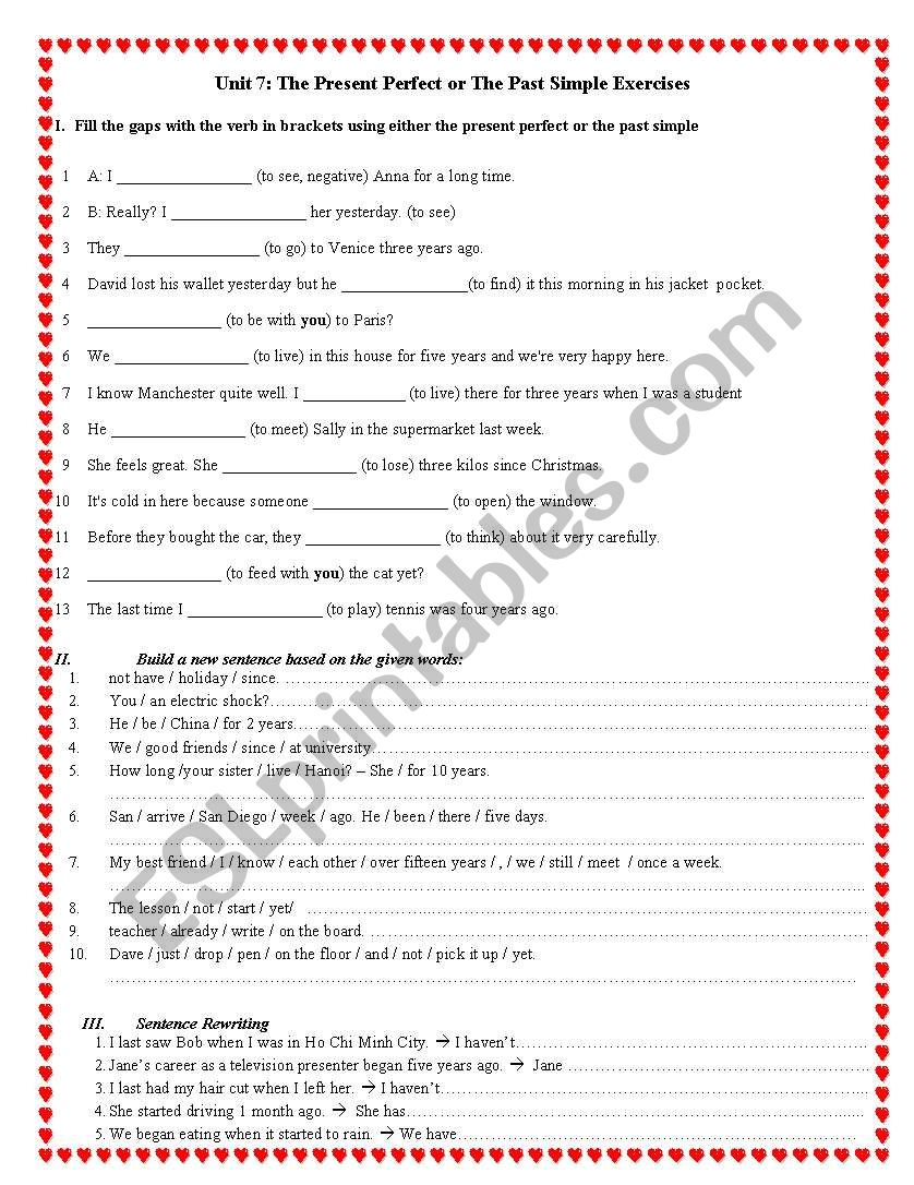 exercise for present perfect tense - ESL worksheet by muaha