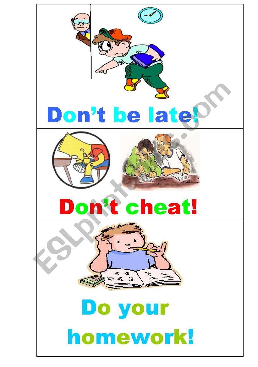 Illustrated classroom rules worksheet
