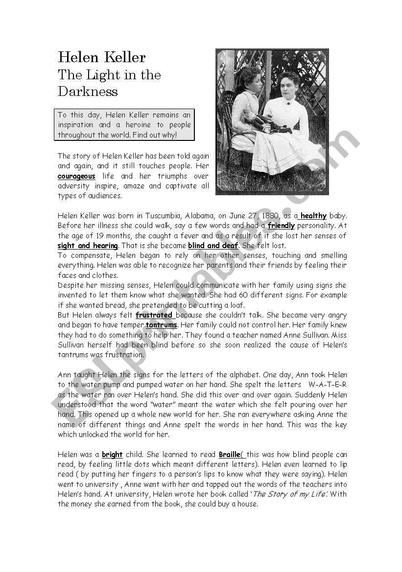 Worksheets Helen Keller Worksheets english worksheets hellen keller worksheet
