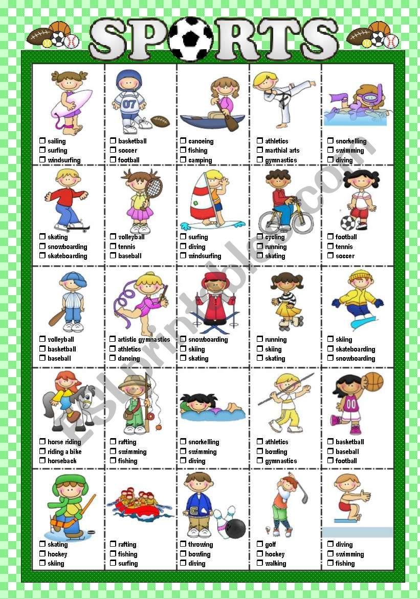 SPORTS - Multiple choice test worksheet