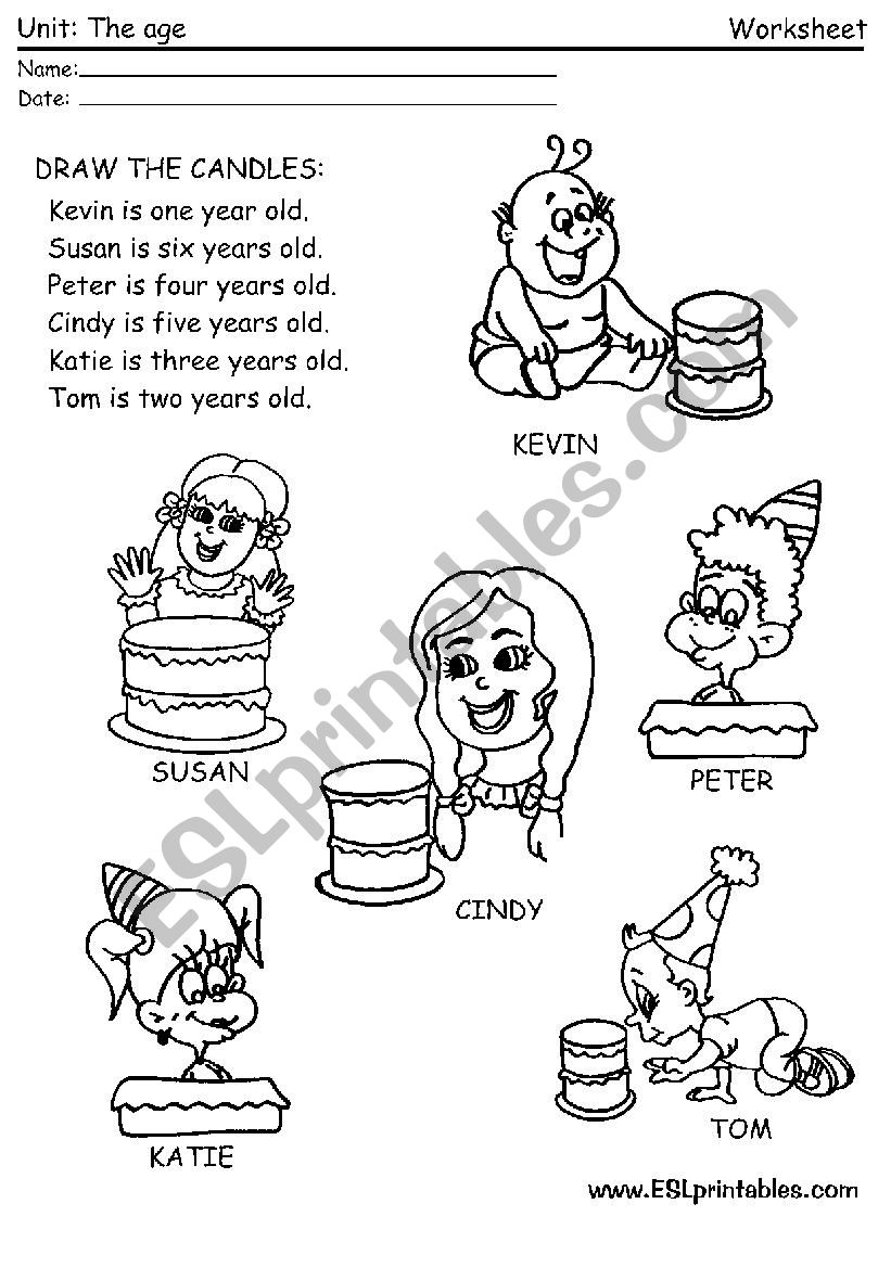 The age worksheet: draw the candles