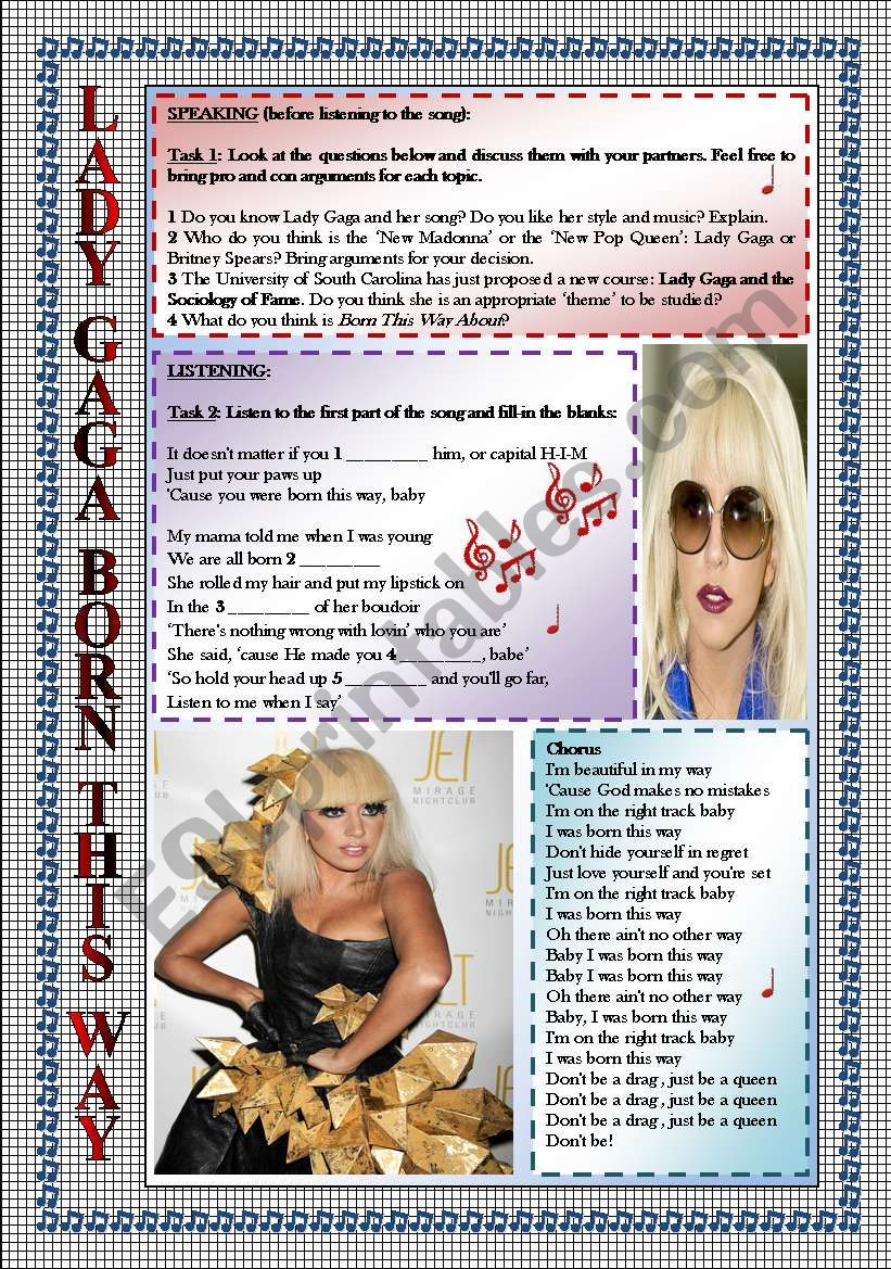 LADY GAGA-BORN THIS WAY(2 PAGES)-LISTENING-SPEAKING-FULLY EDITABLE-KEY INCLUDED