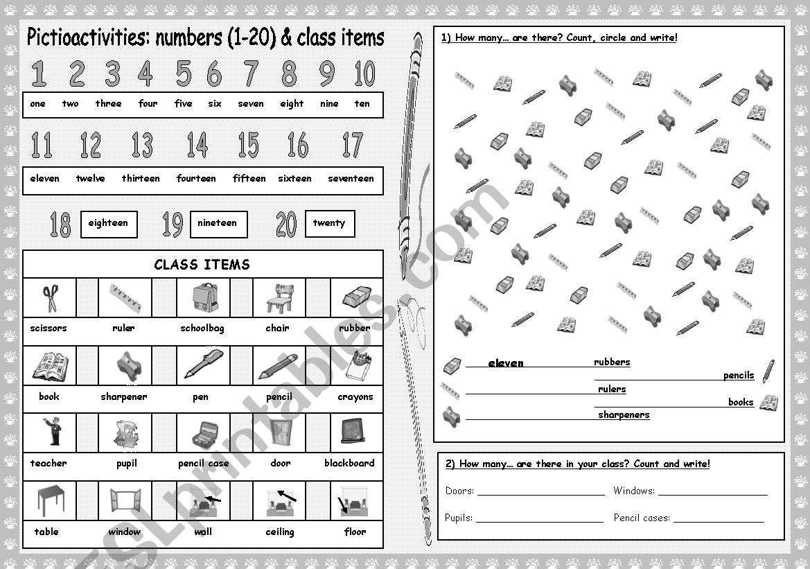 Pictioactivities: How many...? + Numbers (1-20) + Class items