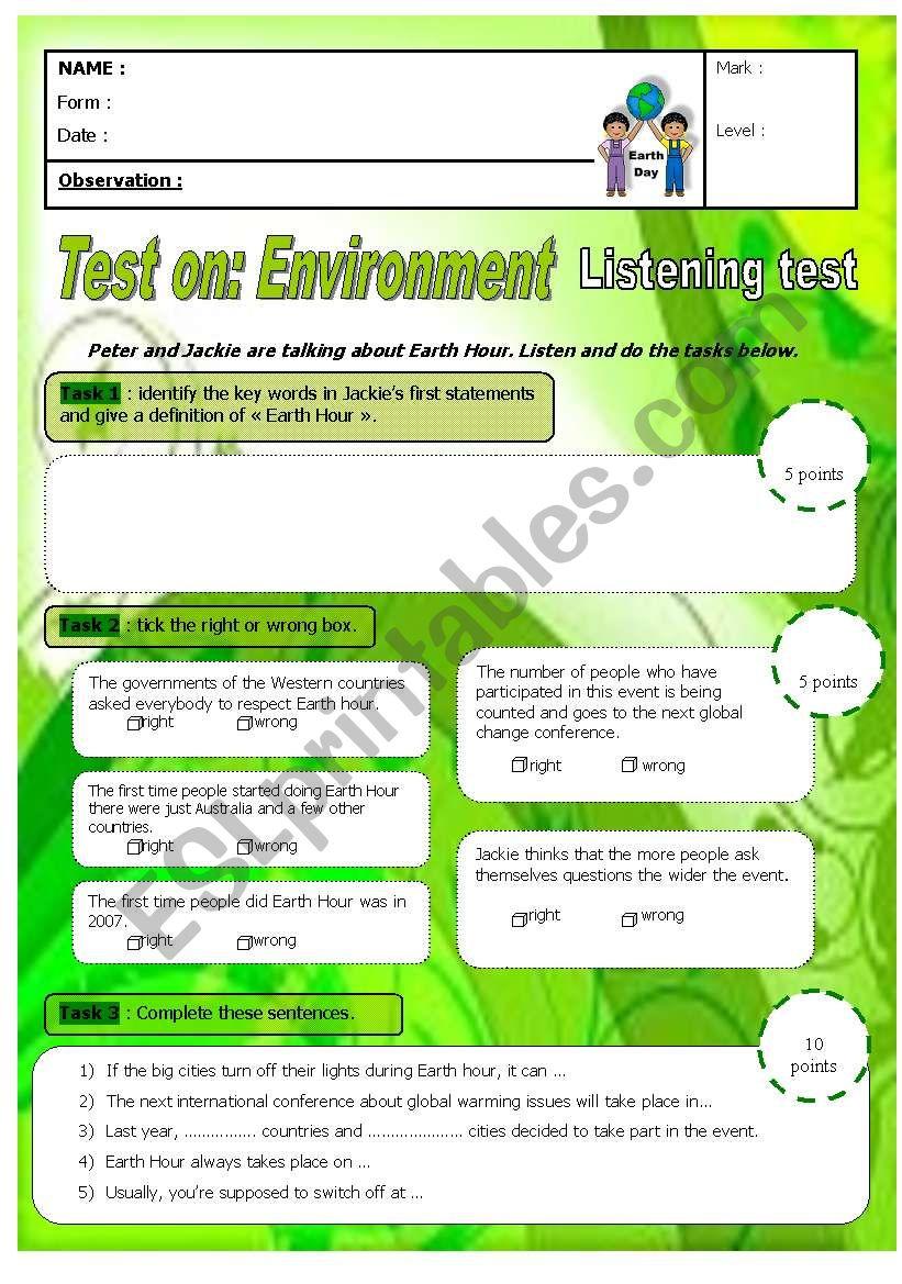 Earth Hour - Listening test - A2 low B1 with key - ESL