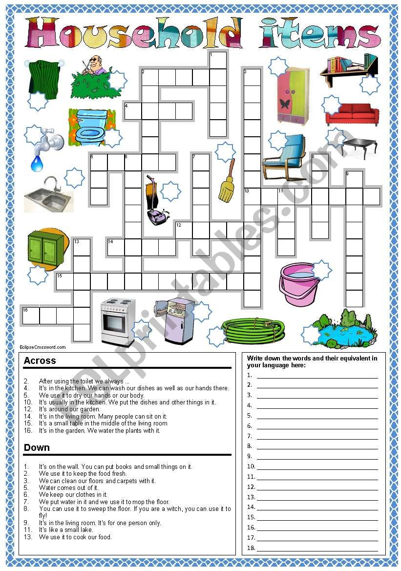 Household items crossword * Can be used with my Happy Families game!