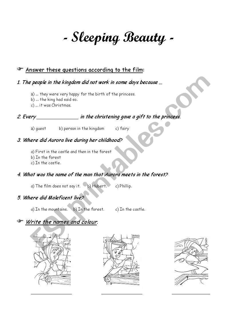 Sleeping Beauty worksheet - ESL worksheet by Pituf
