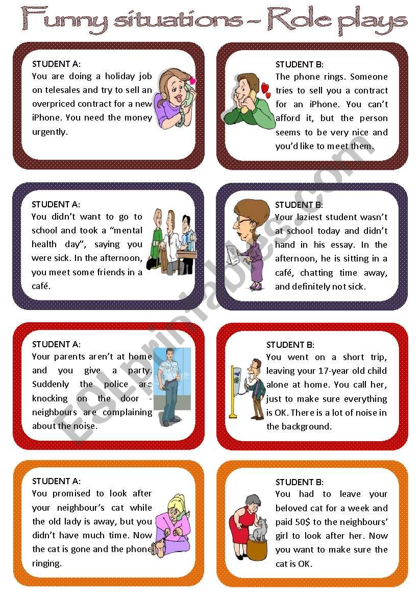 Role plays for intermediate students - Funny Situations Set 1