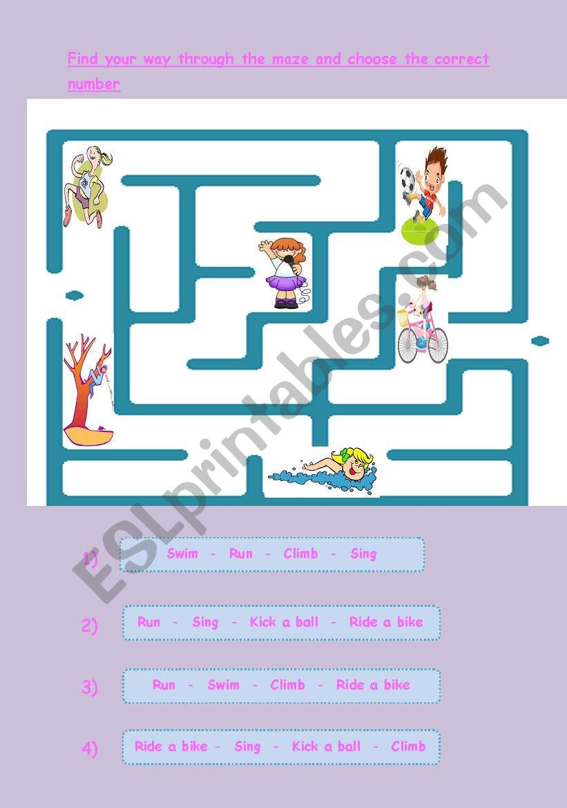 Preposition In Learn In Marathi All Complate: English Worksheets: Action Verbs Maze And Prepositions Of