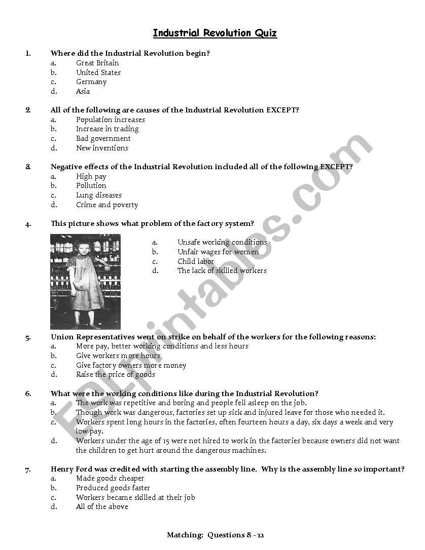Industrial Revolution Quiz Esl Worksheet By Aebbeler
