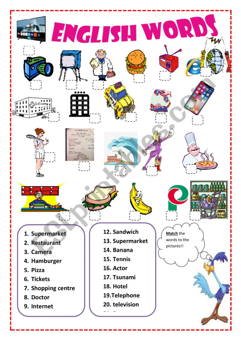 English Worksheets Vocabulary English Spanish Cognates