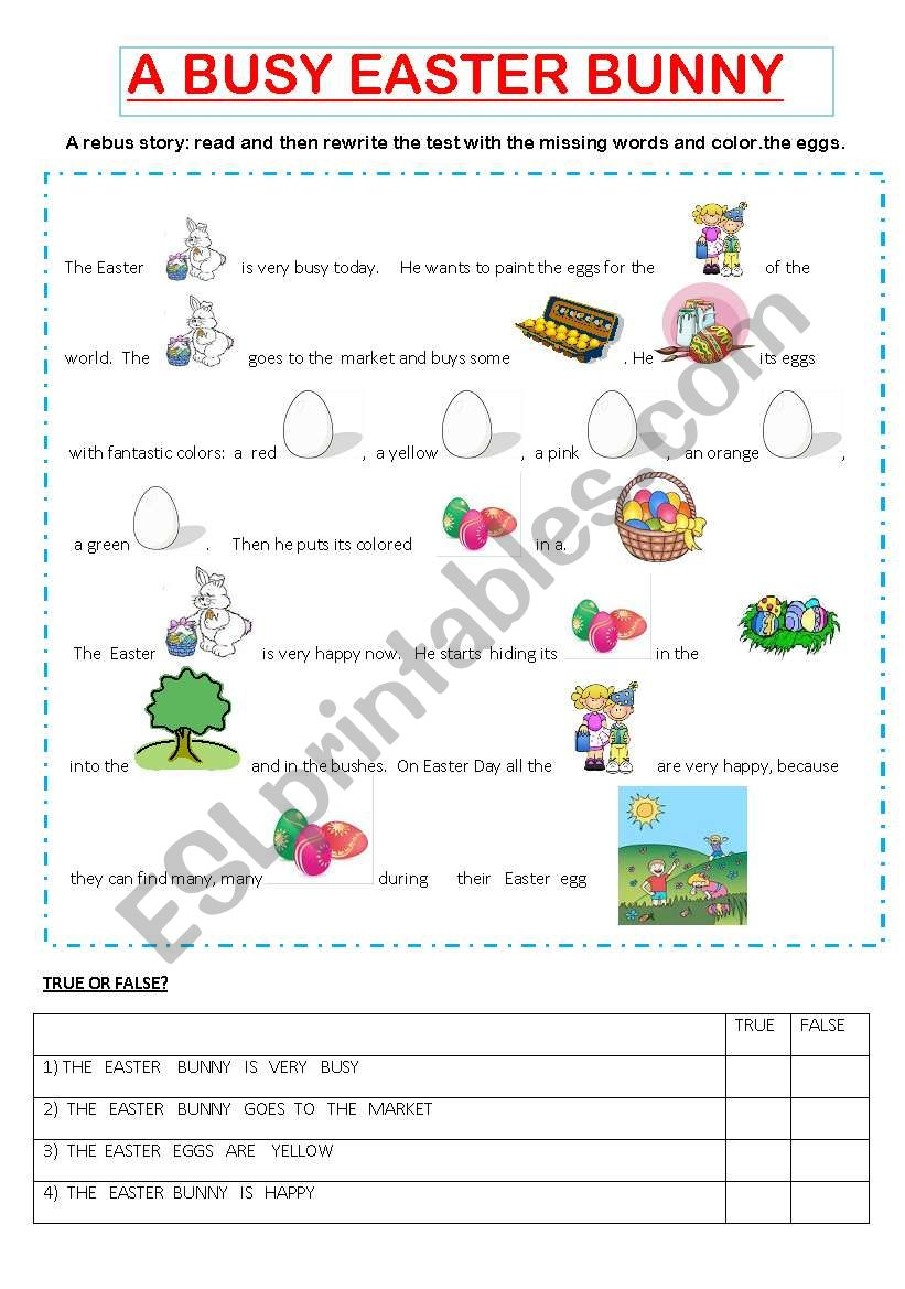 A BUSY EASTER BUNNY worksheet