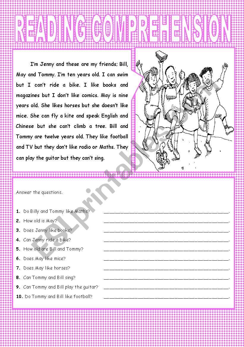 - An Esl Reading Comprehension - ESL Worksheet By Angelll