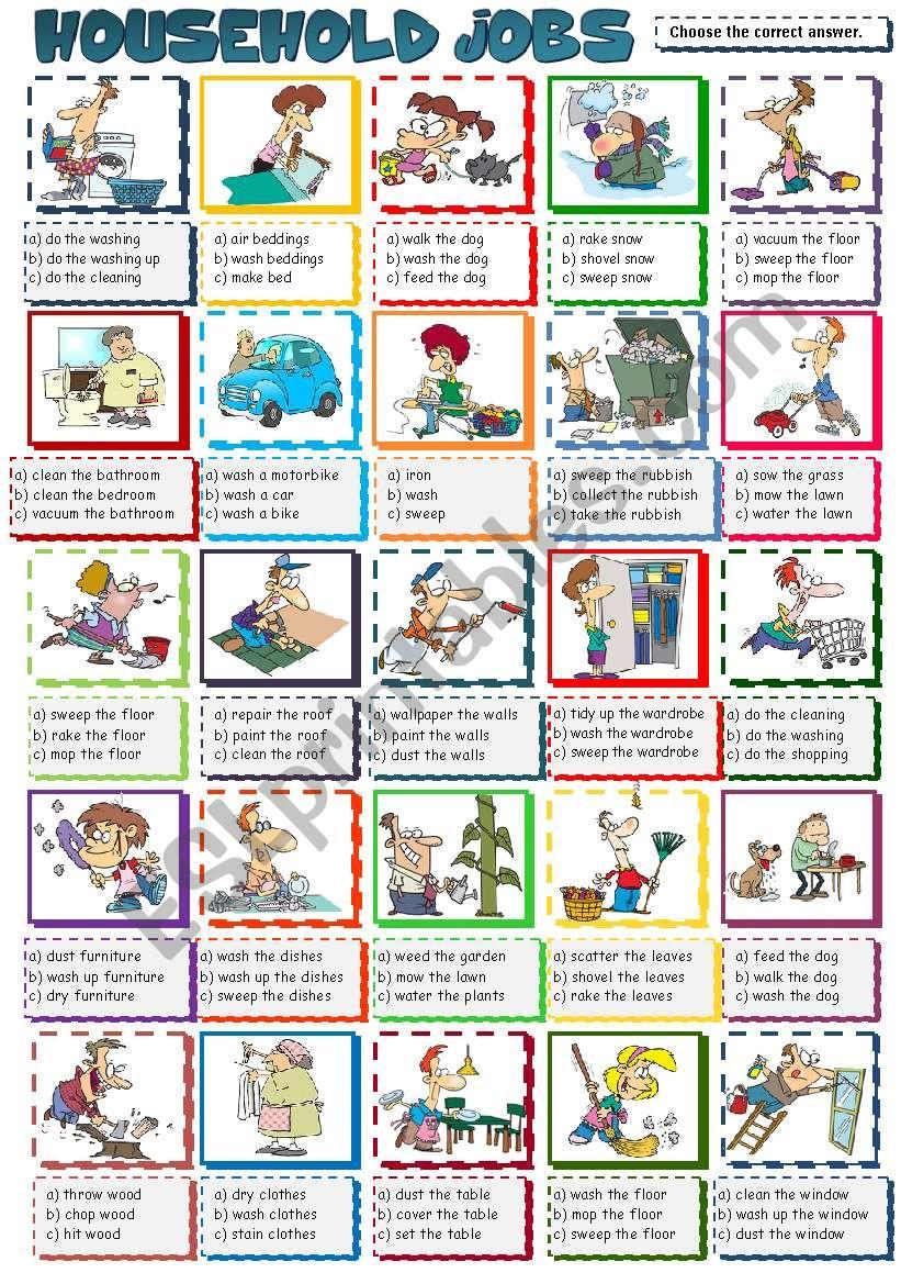 Household Jobs - multiple choice (B&W included)