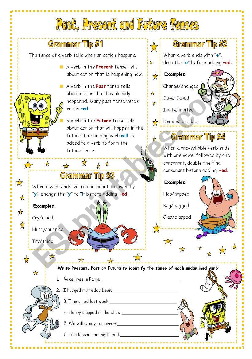 Past Present And Future Tenses Esl Worksheet By Vanev