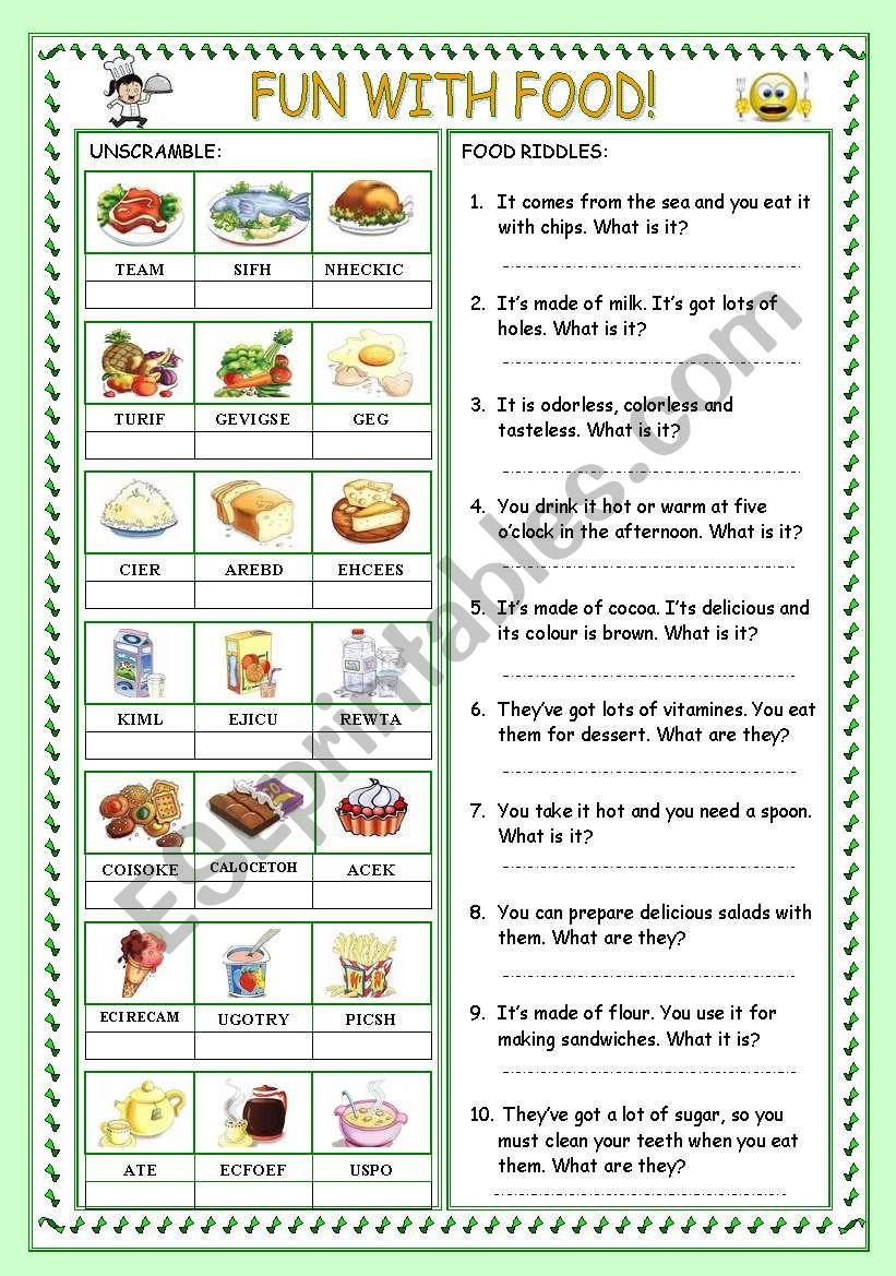FUN WITH FOOD! worksheet
