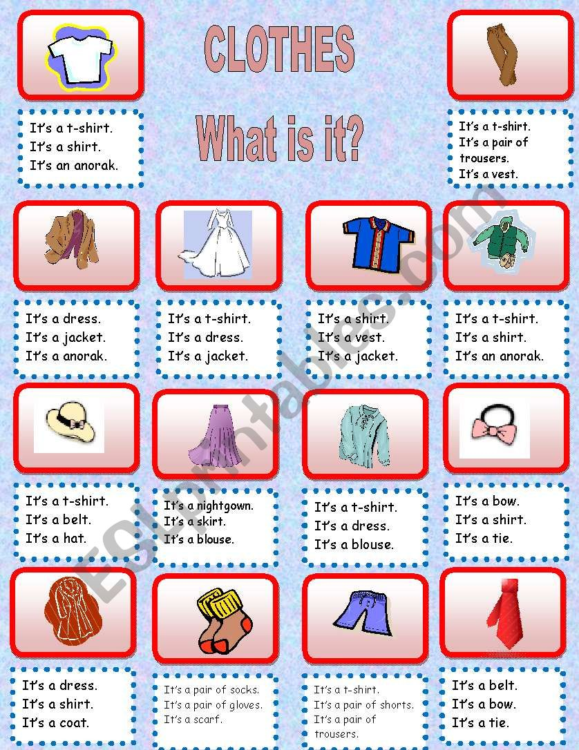 Clothes - What is it? worksheet