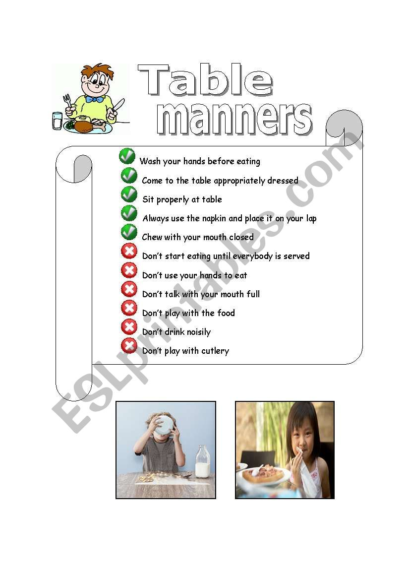 Table Manners Esl Worksheet By Maria Rosa