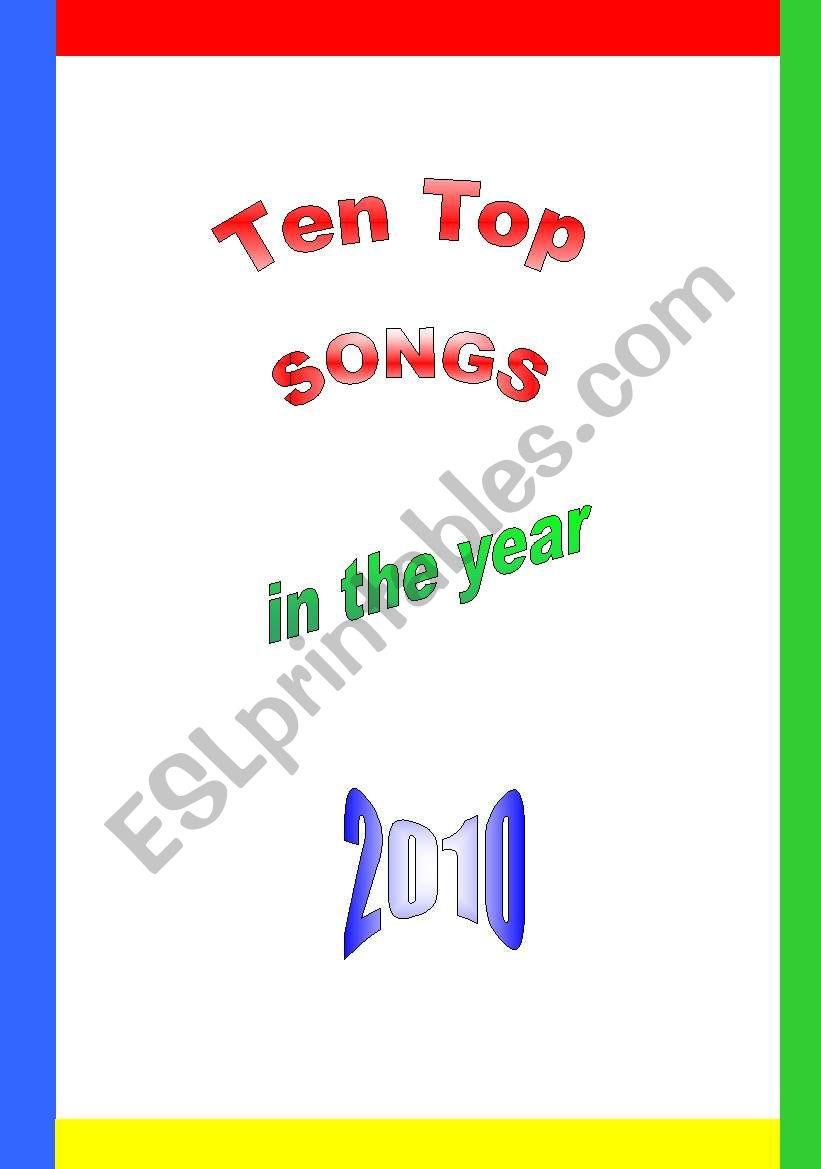 Ten Top Songs in 2010 worksheet