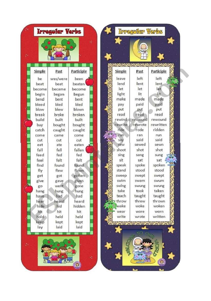 Irregular Verbs Bookmarks worksheet