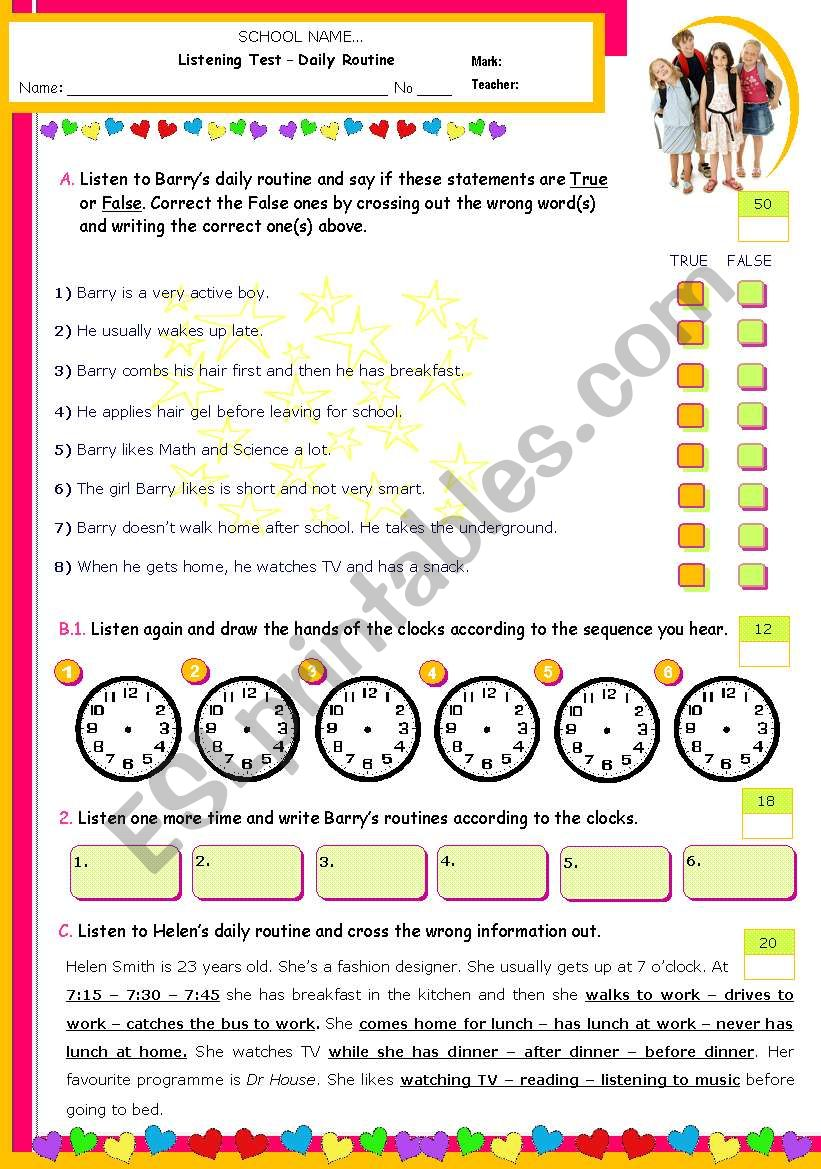 Daily Routines - Listening worksheet