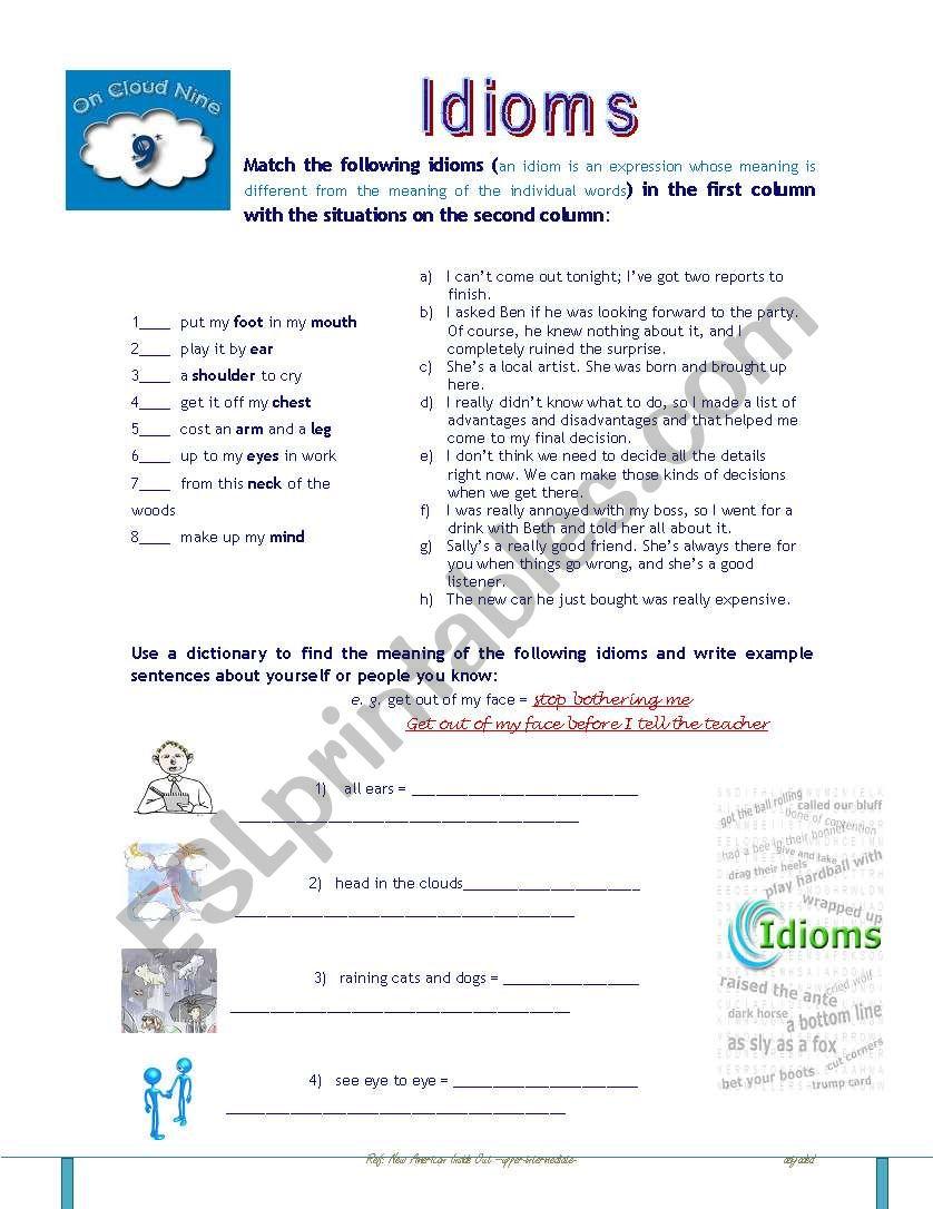 Idioms activity worksheet
