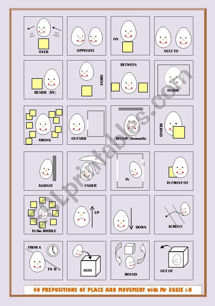 40 PREPOSITIONS WITH MR EGG - 9_PAGES of exs, 3_pgs of suggestions+links -fully editable - A2-B1 level