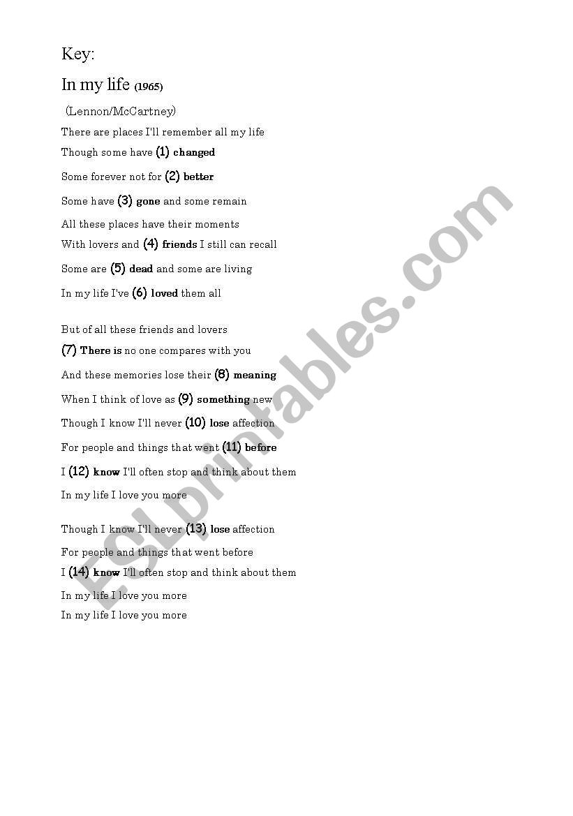 In My Life by The Beatles, worksheet with answers - ESL