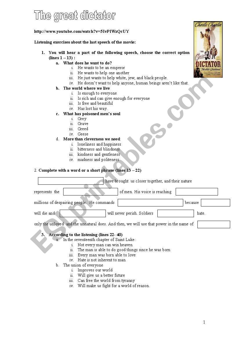 Listening. The Great Dictator worksheet