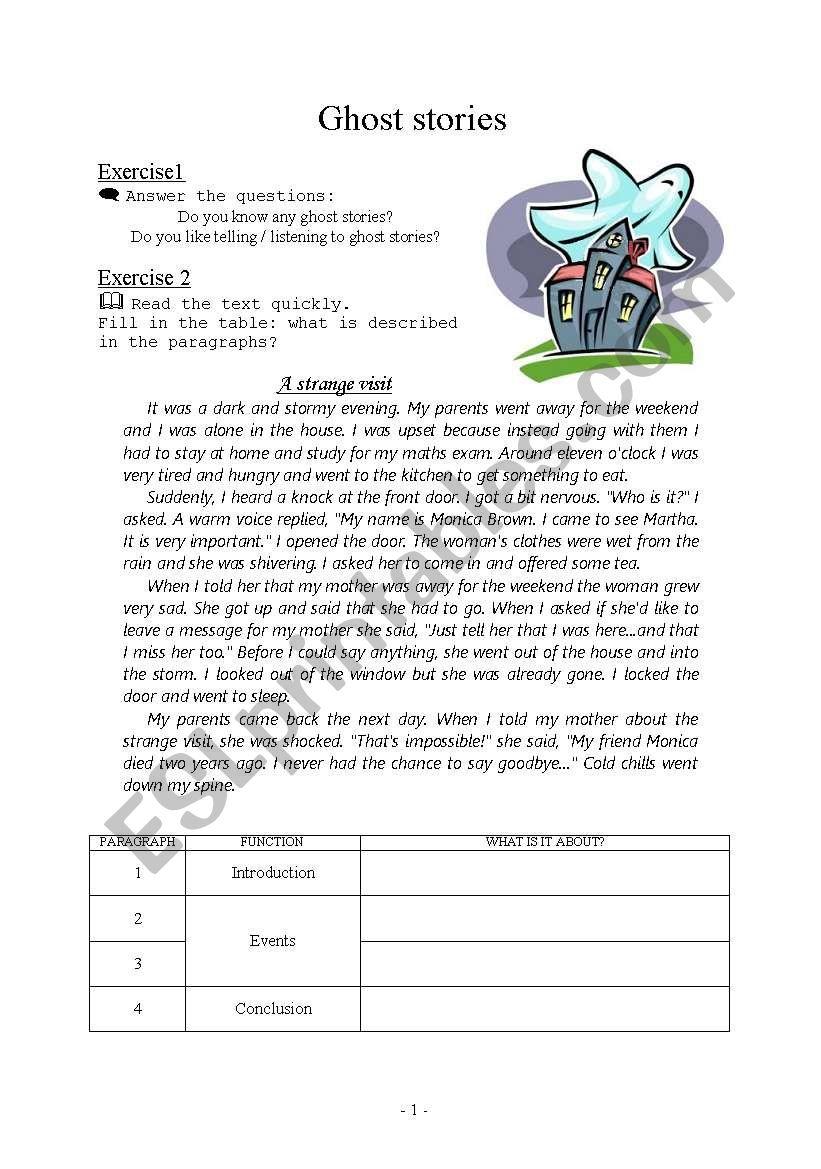 Ghost stories - writing - ESL worksheet by effiik