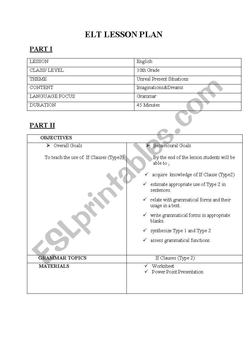 IF CLAUSE TYPE II LESSON PLAN - ESL worksheet by neli456