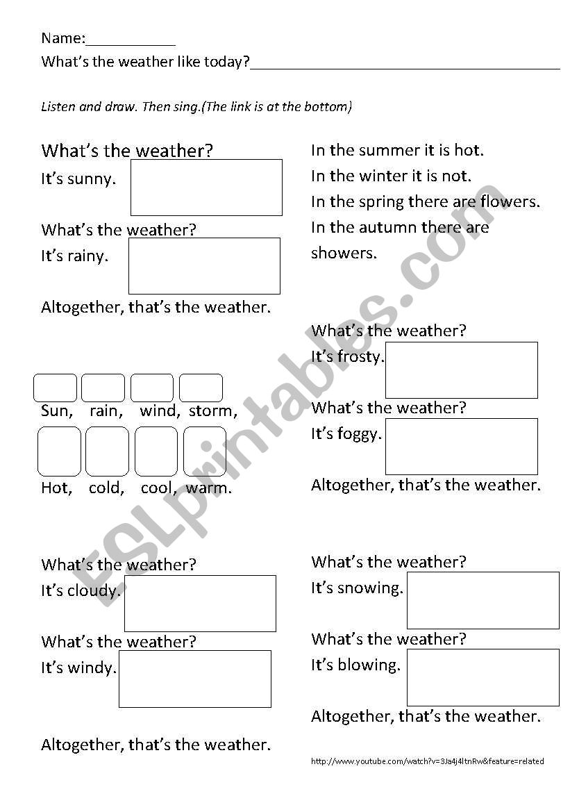 what s the weather like song listen and draw esl worksheet by makaoschool. Black Bedroom Furniture Sets. Home Design Ideas