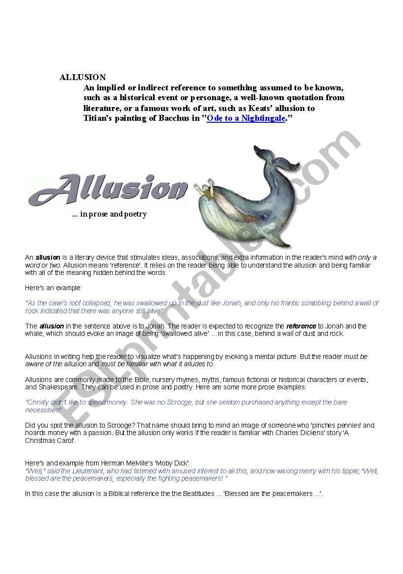 Allusions Esl Worksheet By Navjeets