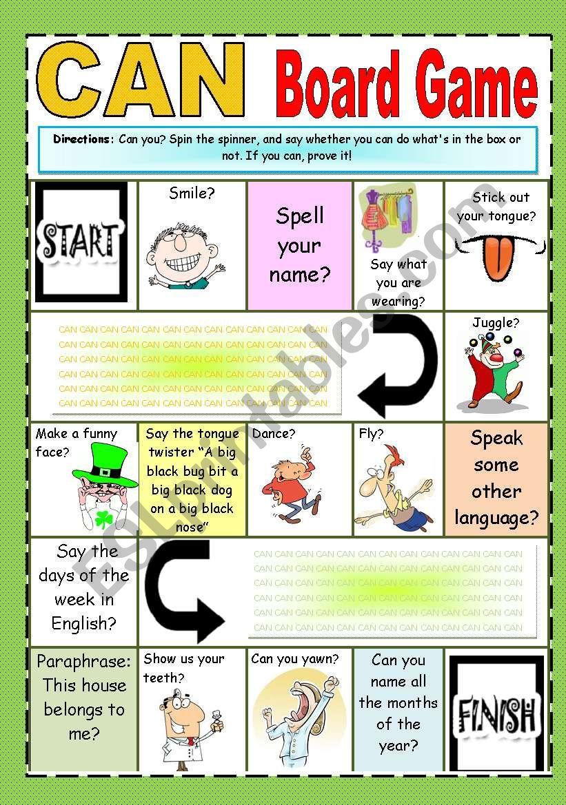 CAN board game worksheet
