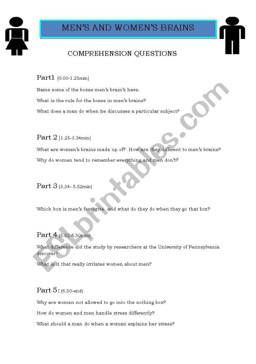 Funny Video Differences Between Men And Women Esl Worksheet By Ash2