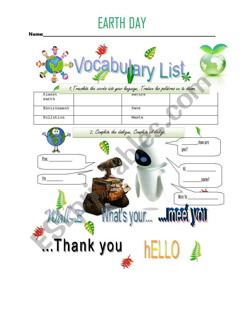 Greetins - Earth Day worksheet