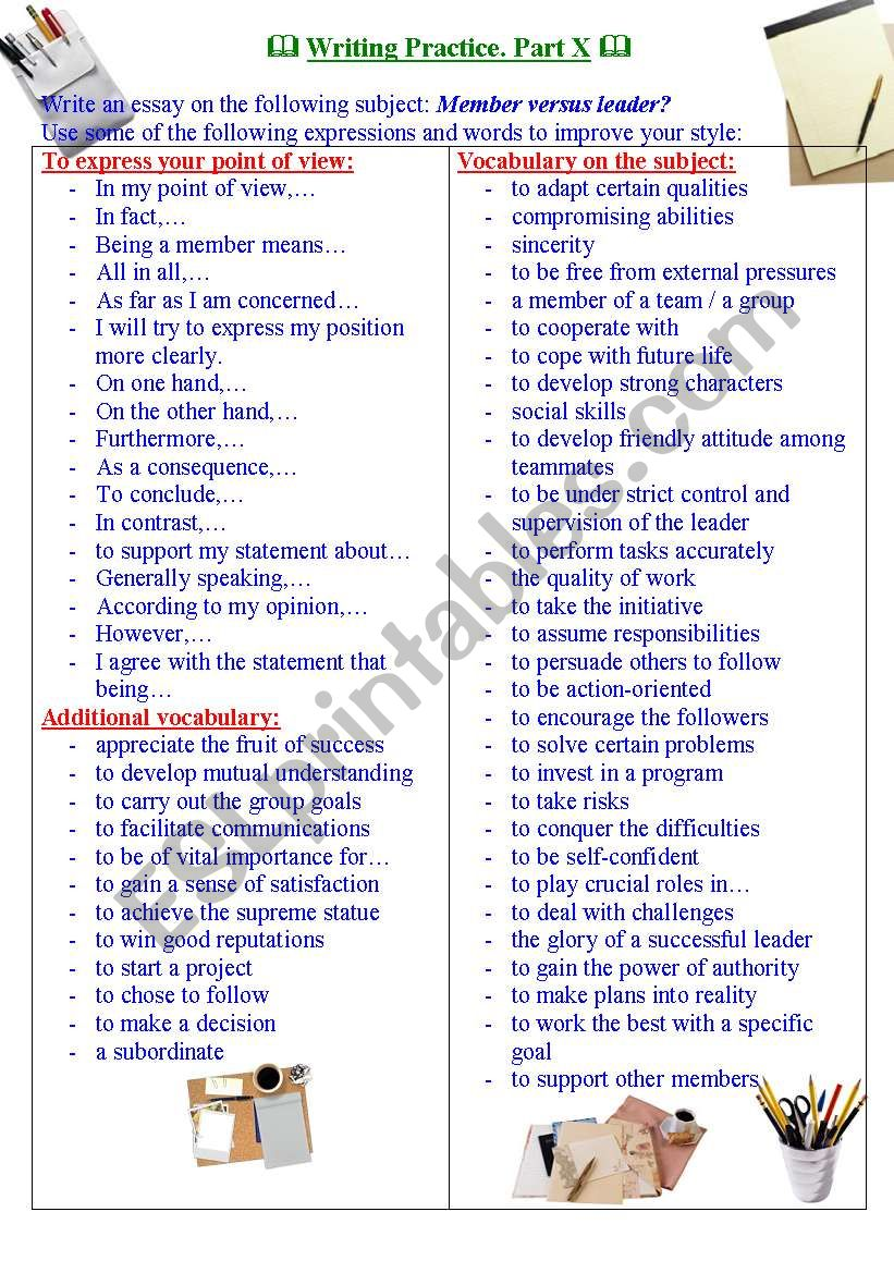 Writing Practice for TOEFL / IELTS exams. Useful expressions and vocabulary. Part X.