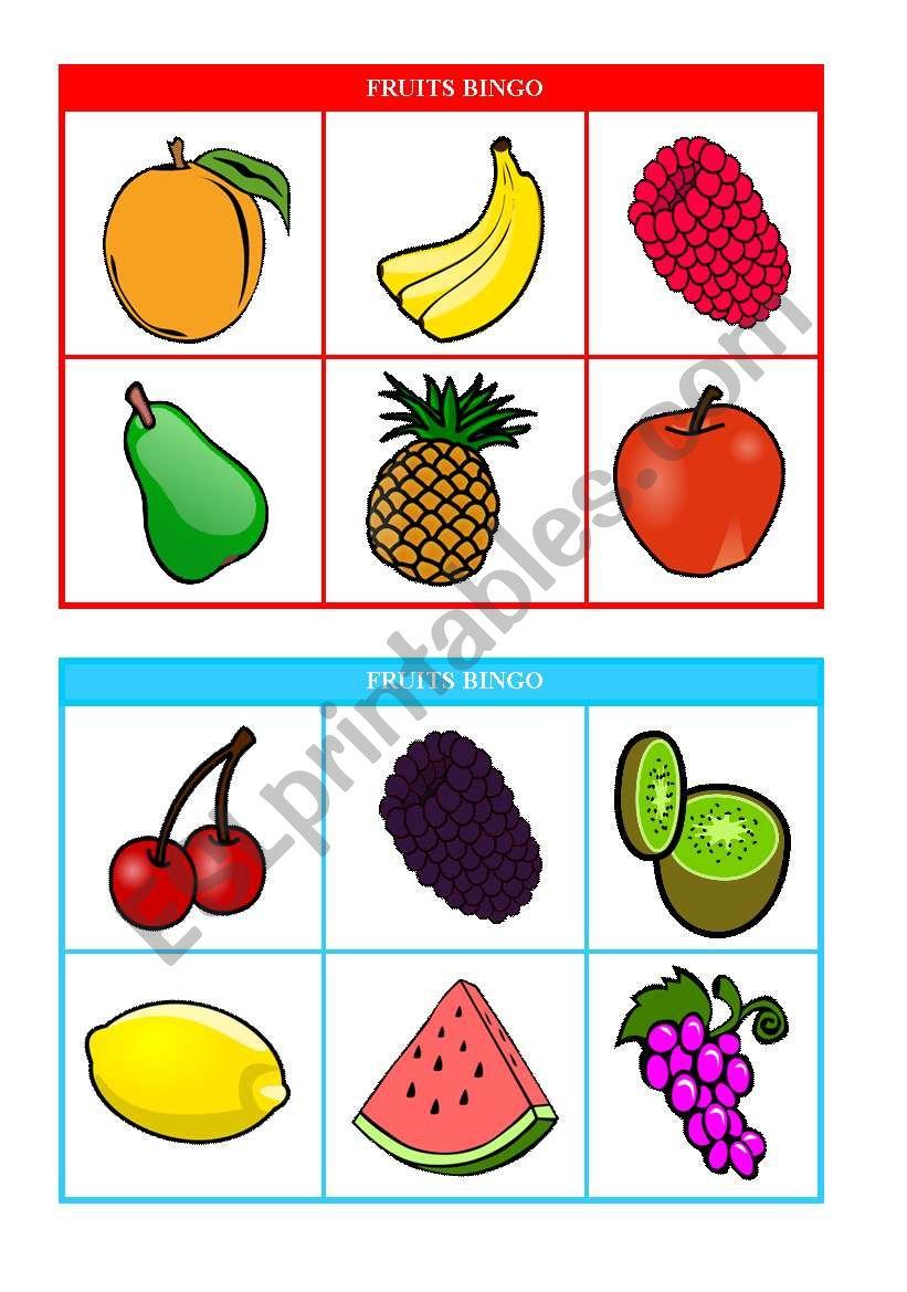 Fruits Bingo Cards 1 2 Of 10 Fully Editable Esl Worksheet By