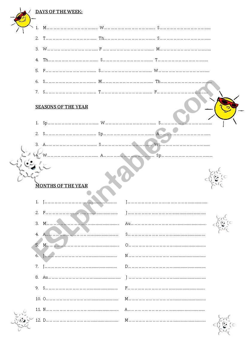 days, seasons, months worksheet