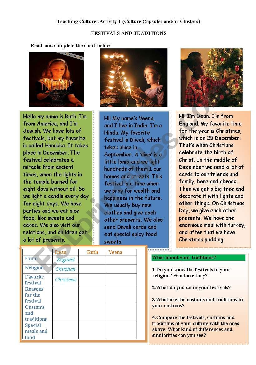 teaching culture(traditions) worksheet