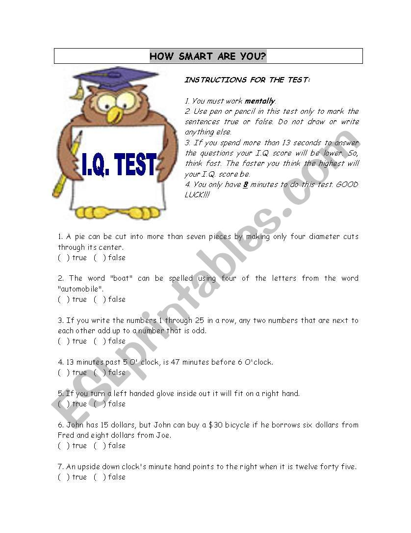Iq Test Esl Worksheet By Wesley
