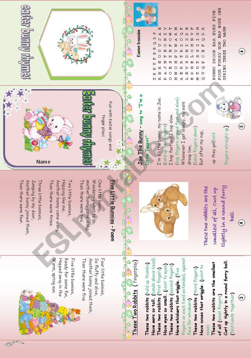 Easter rhyme ,poem and fingerplay minibook