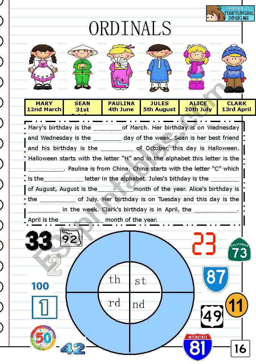 Ordinals PART 1 worksheet